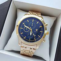 Мужские наручные часы Rolex (ролекс), золотые с черным циферблатом, антибликовое покрытие, дата - код 1717, фото 1
