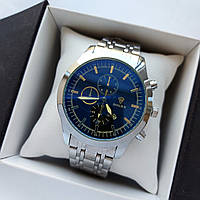 Мужские наручные часы Rolex (ролекс), серебристые с черным циферблатом, антибликовое покрытие, дата - код 1718, фото 1