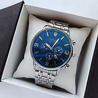Мужские наручные часы Rolex (ролекс), серебристые с черным циферблатом, антибликовое покрытие, дата - код 1721, фото 1