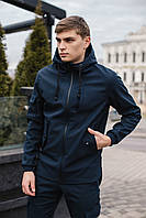 Мужская куртка Softshell синяя демисезонная Intruder. + Брендовая Ключница в подарок