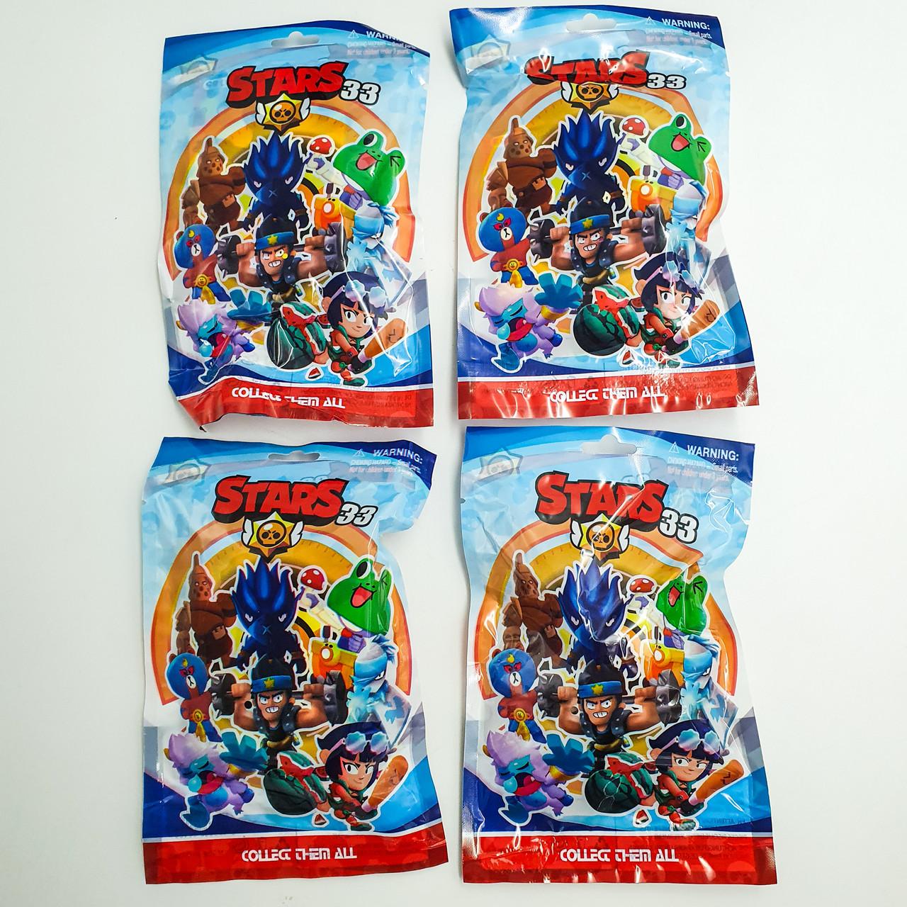 Фигурки Бравл Старс игровая карта в комплекте с фигуркой 7 см Brawl stars Heros 33 набор из 4 шт