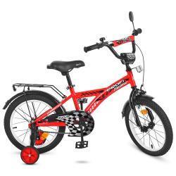 Велосипед детский PROFI, колеса 18д, Raser, красный, звонок, доп.колеса
