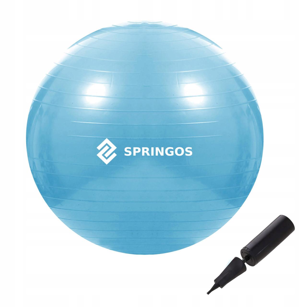 М'яч для фітнесу (фітбол) Springos 55 см Anti-Burst FB0006 Sky Blue
