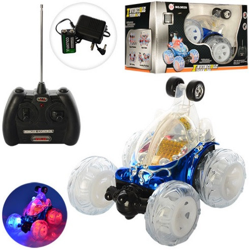 Машинка-перевертыш трюковая на радиоуправлении  со светящимися колесами Классная машинка для мальчика Подарок