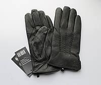 Кожаные мужские перчатки из оленьей кожи, подкладка махра, черные