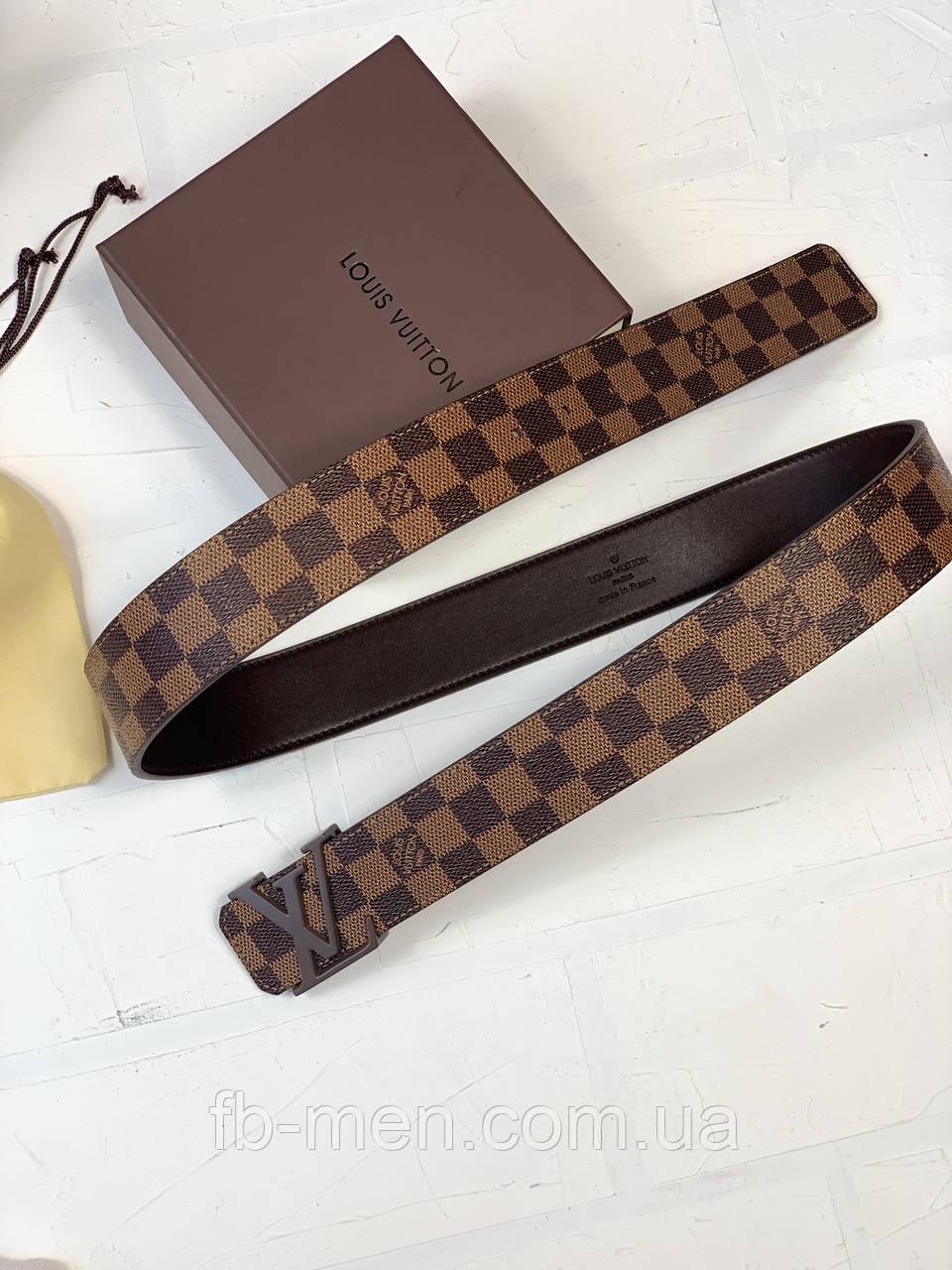 Ремень Louis Vuitton коричневая шашка | Ремень мужской женский Луи Виттон кожаный в коробке