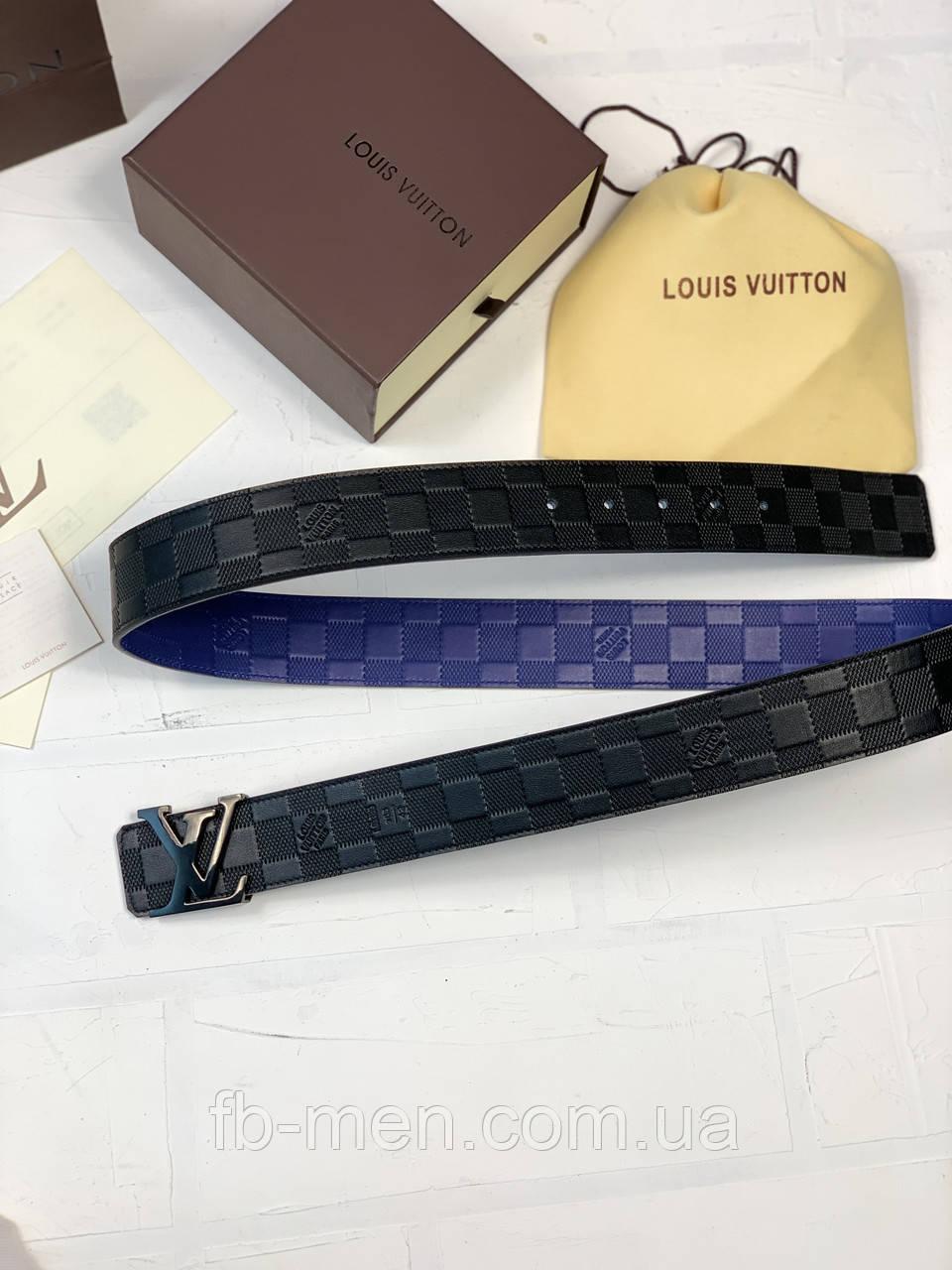 Ремень Louis Vuitton двухсторонний черно-синий|Пояс ремень мужской женский Луи Виттон черно-синяя шашка