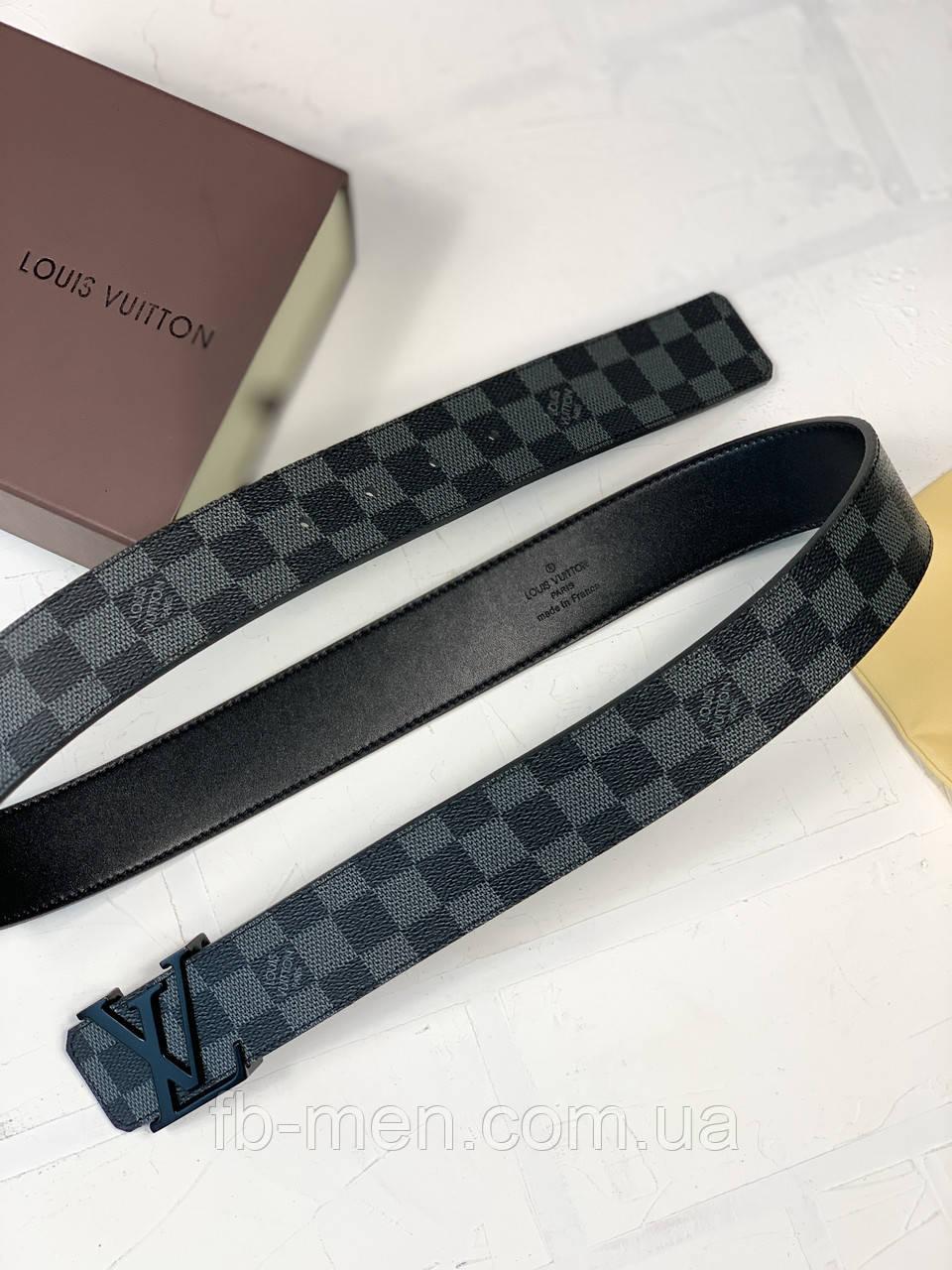 Ремень Louis Vuitton серая шашка|Пояс мужской женский серого цвета из натуральной кожи