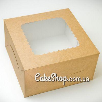 Коробка для зефира, пирожных с ажурным окном Крафт 14х14х6 см