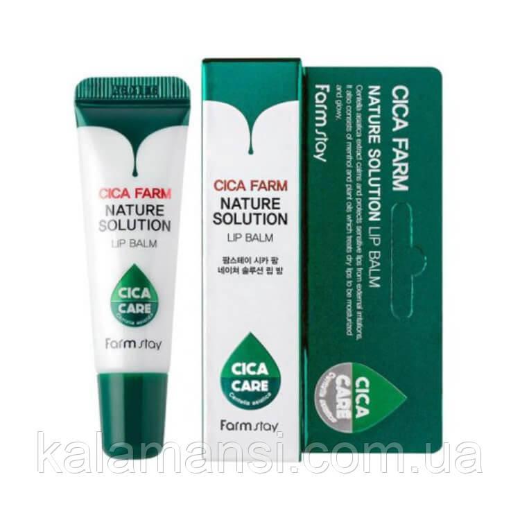 Восстанавливающий бальзам для губ с центеллой азиатской FarmStay Cica Farm Nature Solution Lip Balm 10 г