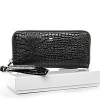 Женский кожаный лаковый кошелек SERGIO TORRETTI (W38 черный)
