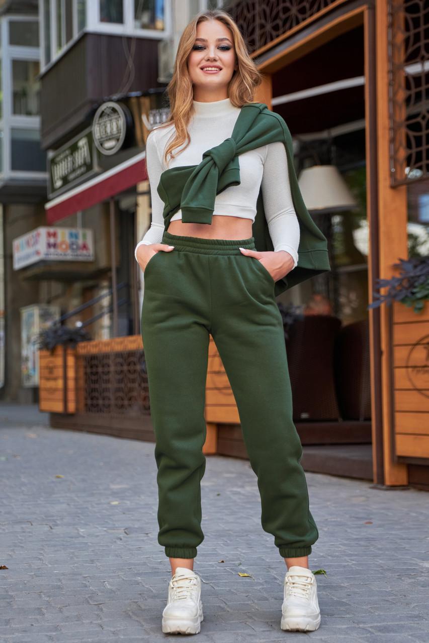 Тёплые женские штаны на флисе хаки