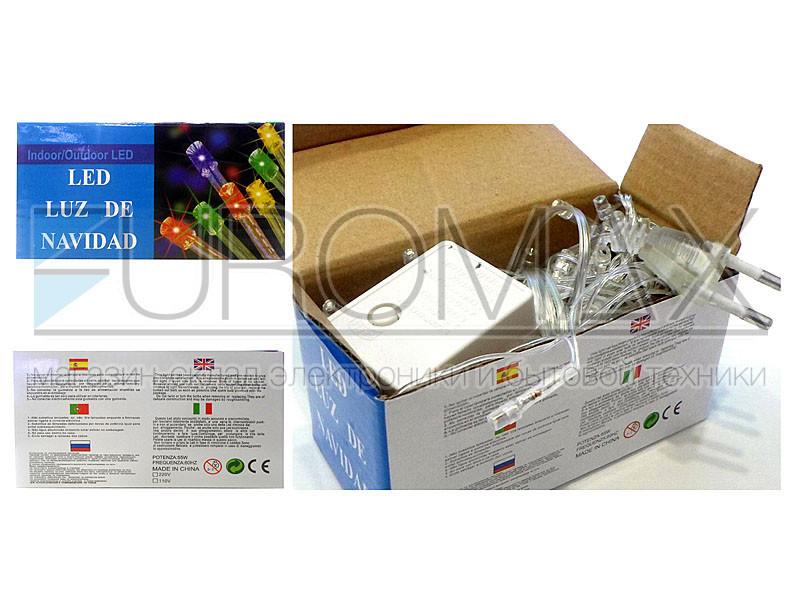 Гирлянда прозрачный провод 400LED (теплый белый) LED400WW-1 50шт 8367