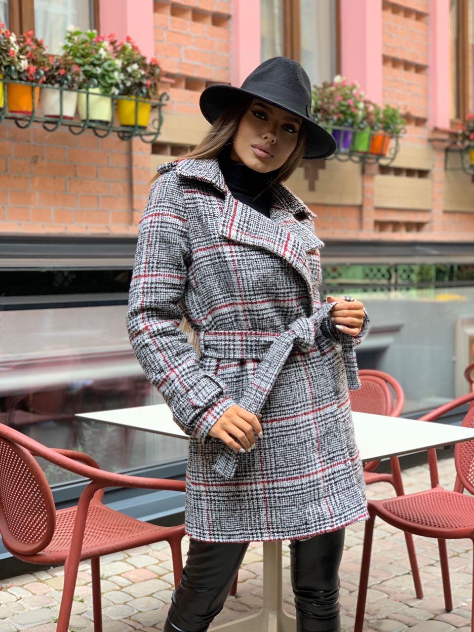 Стильне жіноче пальто утеплене на запах 42-46 р