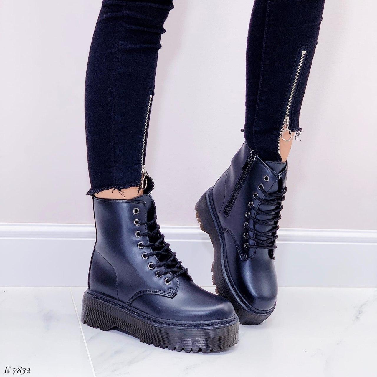 Женские ботинки ДЕМИ черные на шнуровке эко кожа
