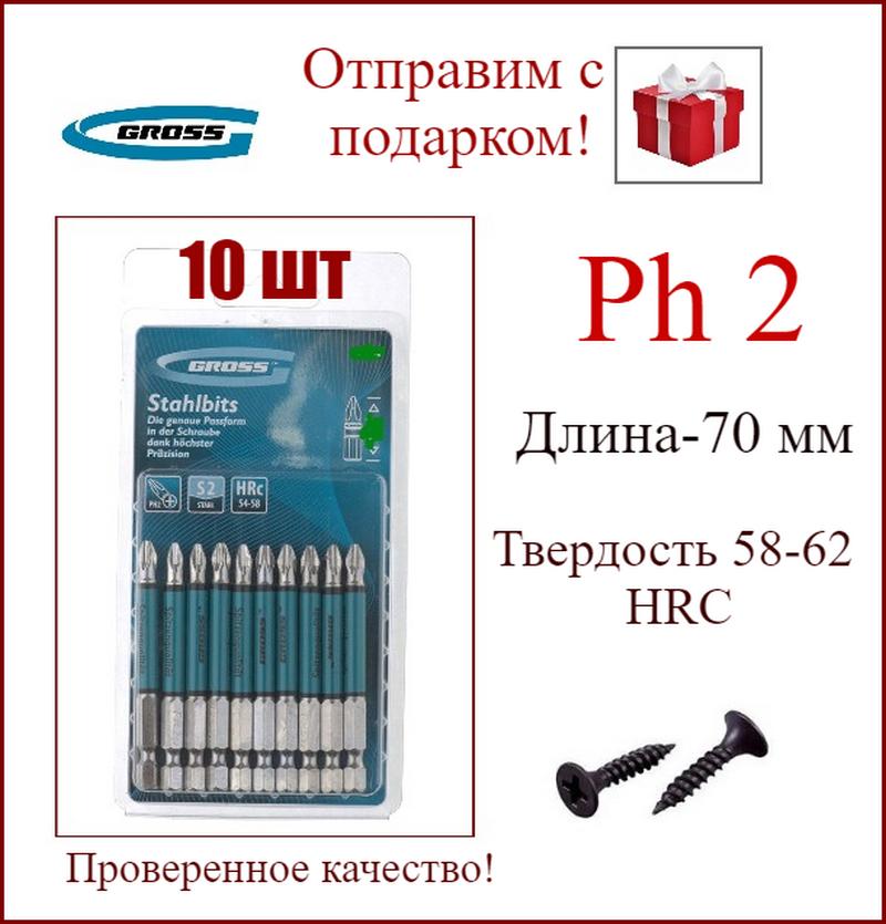 Набор бит PH2 х 70, сталь S2, 10 шт, GROSS 11262