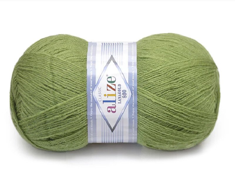 Alize LanaGold 800,  Зеленая черепаха №485
