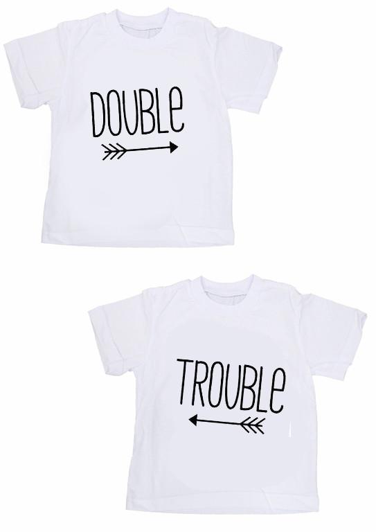 Парные футболки с принтом для двойняшек и близняшек