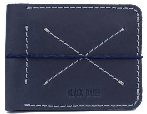 Качественный мужской бумажник из натуральной кожи Black Brier П-14-97 темно-синий