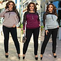 Костюм женский брючный большого размера, нарядный, кофта с кружевом и брюки, модный, повседневный, до 58р