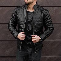 Куртка кожаная мужская весенняя осенняя Gang черная | Кожанка демисезонная утепленная ЛЮКС качества