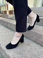 Женские туфли лодочки в овальным носком черные