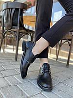 Черные классические кожаные туфли кожаные, фото 1