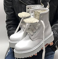 Женские зимние ботинки Dr. Martens MOLLY белые с МЕХОМ 36-40р. Реальное фото. Топ реплика