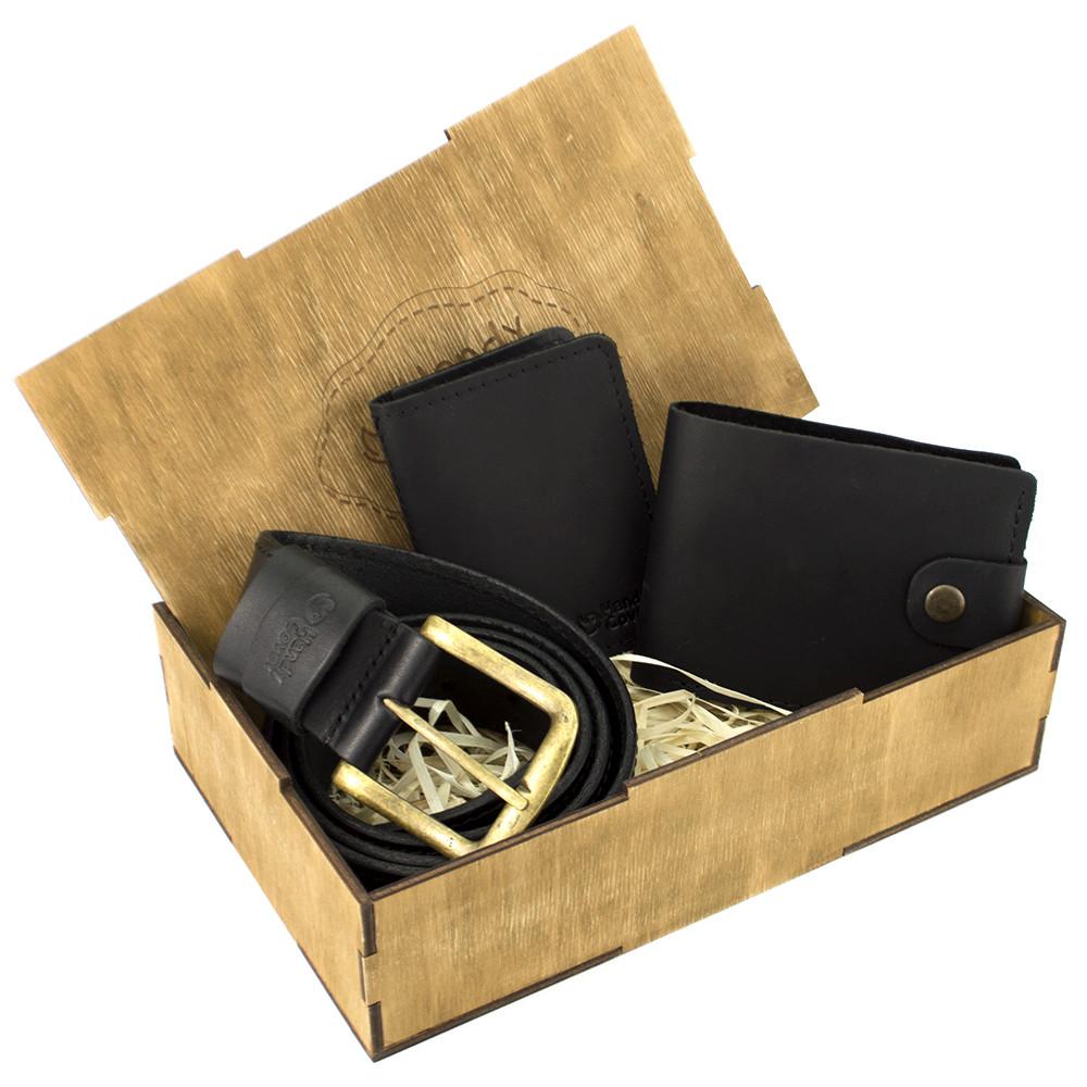 Мужской подарочный набор в коробке Handycover №42 черный (ремень, портмоне, обложка на ID паспорт)