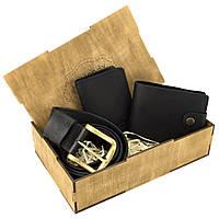 Мужской подарочный набор в коробке Handycover №42 черный (ремень, портмоне, обложка на ID паспорт), фото 1