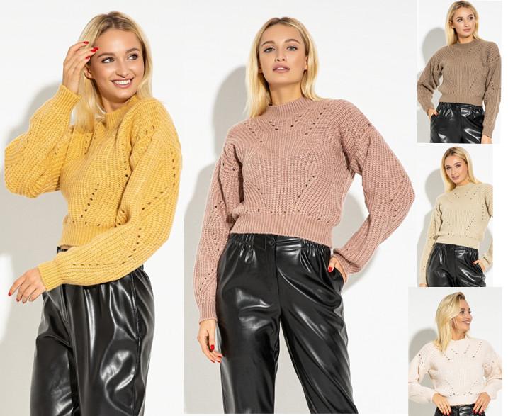 Укороченный женский вязаный свитер PF-4602-02