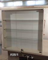 Навесной шкафчик со стеклянными полками Модель А98/1 крем, фото 1