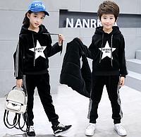 Теплий костюм двійка для дівчаток та хлопчиків / Детская одежда для девочек, бархатный костюм, осенне-зимняя