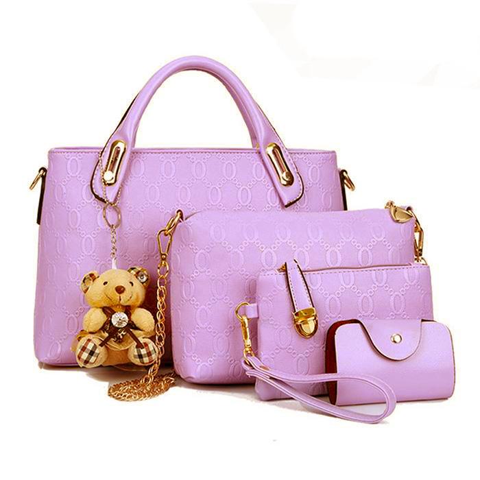 Женская сумка набор 4в1 из экокожи с брелочком, светло-розовый
