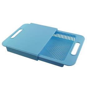 Обробна дошка з друшляком на мийку, блакитний