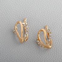 Золотые серьги сердечки с фианитами. СП20495