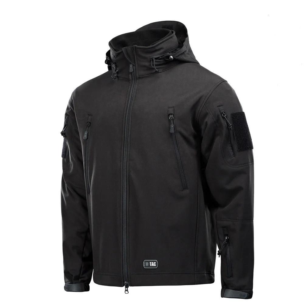 M-Tac куртка Soft Shell с подстежкой Black софтшел черная зимняя