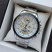Мужские наручные часы Casio Edifice, серебристые со светлым циферблатом, дата - код 1729