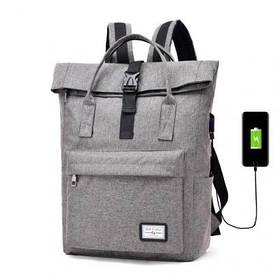 Рюкзак-сумка с USB зарядкой, 22 л серый
