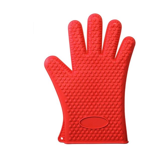 Перчатка - прихватка кухонная силиконовая, красный