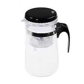 Заварочный чайник Гунфу стеклянный с кнопкой, колбой и механизмом для слива