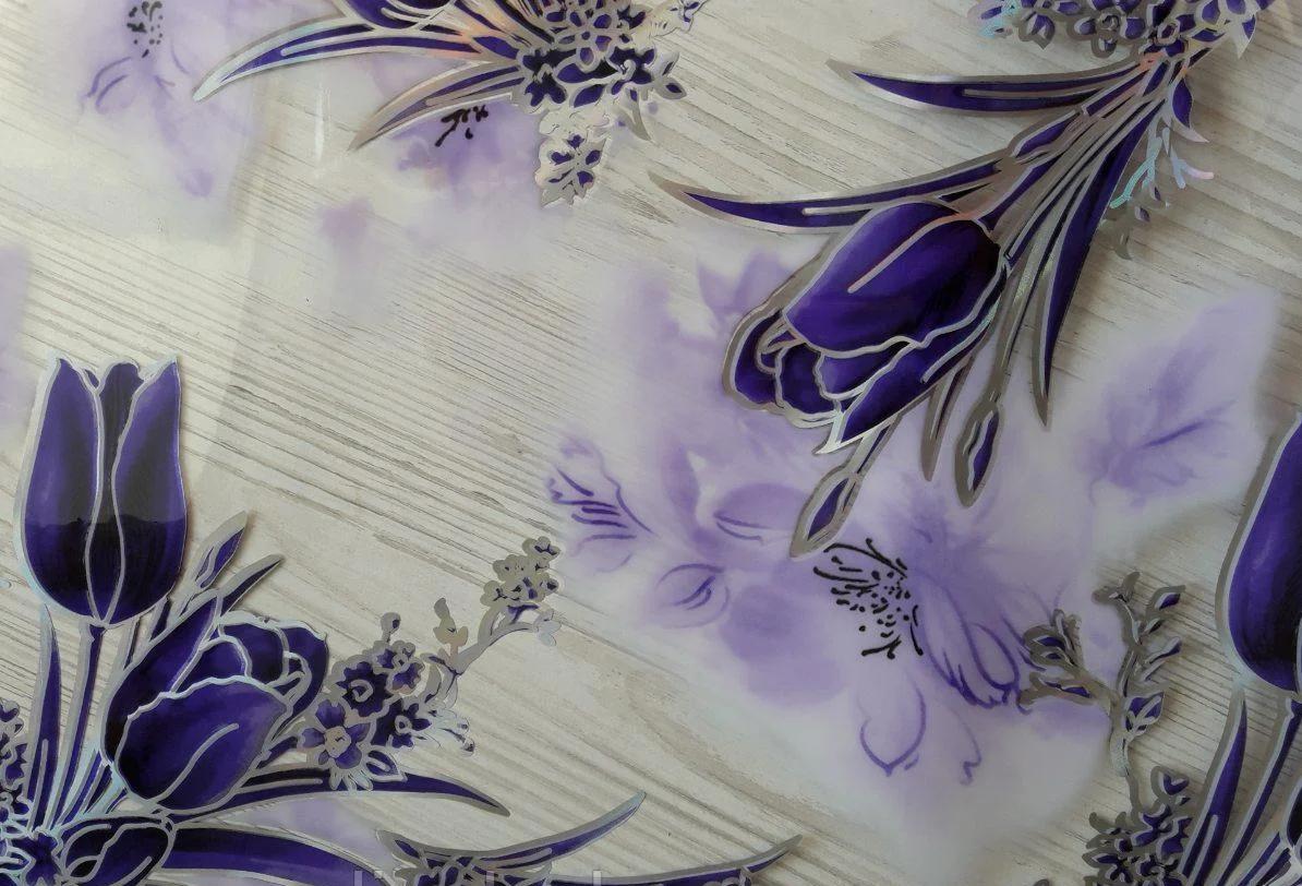Силиконовая скатерть с рисунком на стол Мягкое стекло Soft Glass (Толщина 1.5мм)   Фиолетовые тюльпаны
