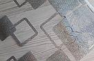 Силиконовая скатерть с рисунком на стол Мягкое стекло Soft Glass (Толщина 1.5мм) Серебристые квадраты, фото 2