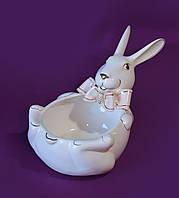 Конфетница (ваза для конфет) керамическая Hand Made кролик, белый, диаметр 27, высота 14 см