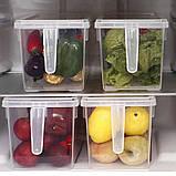 Контейнер для хранения продуктов в холодильнике, прозрачный с крышкой и ручкой, фото 2
