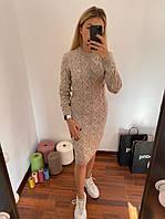 Нарядное, теплое платье с брошью Меланж, фото 1