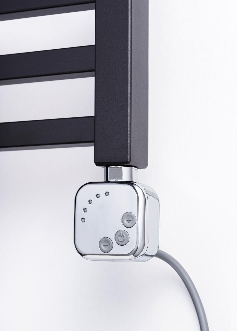 ТЕН HeatQ chrome квадратний, регулятор 30-60С + таймер 2ч. + LED для рушникосушки; Поворотний; Польща 1/2