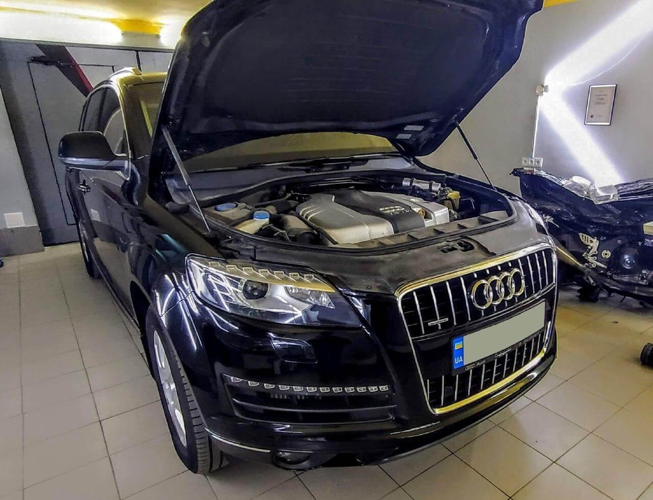 Полировка и шлифовка фар Audi Q7 2010 г.в.