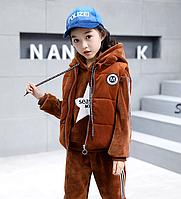 Теплий костюм трійка для дівчаток та хлопчиків / Детская одежда для девочек, бархатный костюм, осенне-зимняя