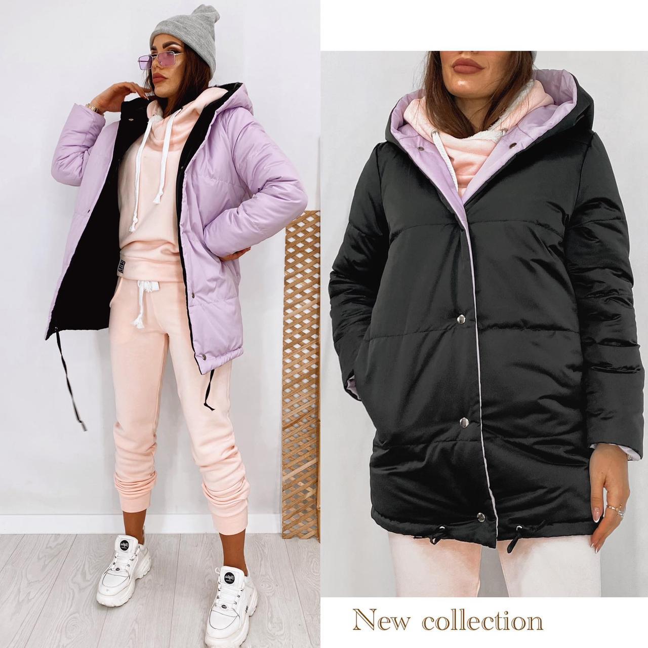 Куртка зефирка двухсторонняя деми женская демисезонная стильная с капюшоном